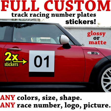 Custom individual made track number plate door board sticker decal